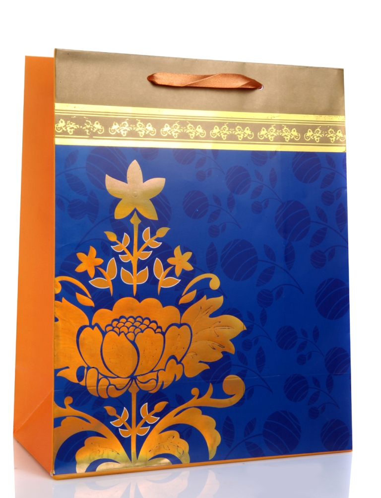 Gift Bag In Orange And Royal Blue With Golden Flowers