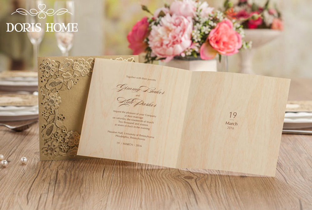Gold Square Floral Vintage Laser Cut Wedding Invitation - Click Image to Close