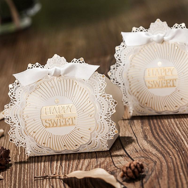 Golden and white Laser cut Design gift boxes with lace - Click Image to Close