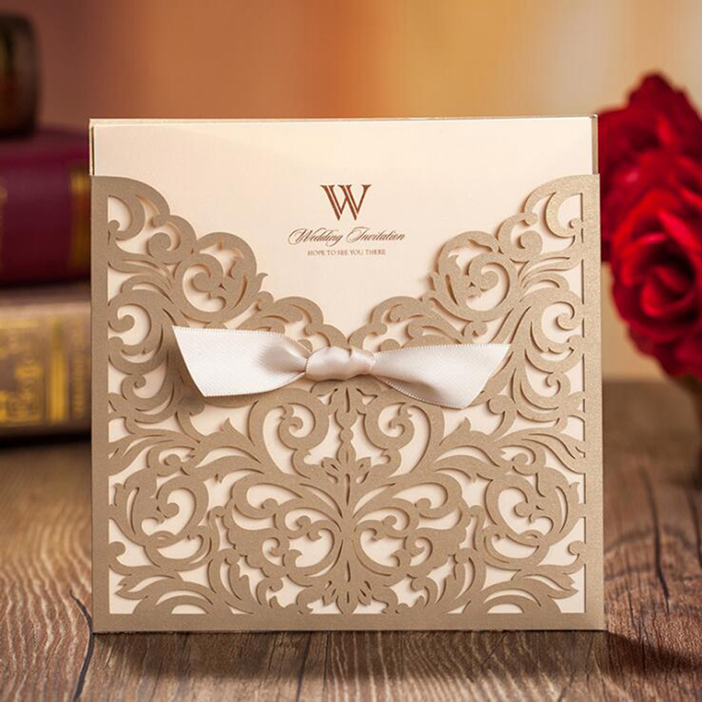 Golden Laser Cut Flower with Bowknot Lace Pocket Invitation - Click Image to Close
