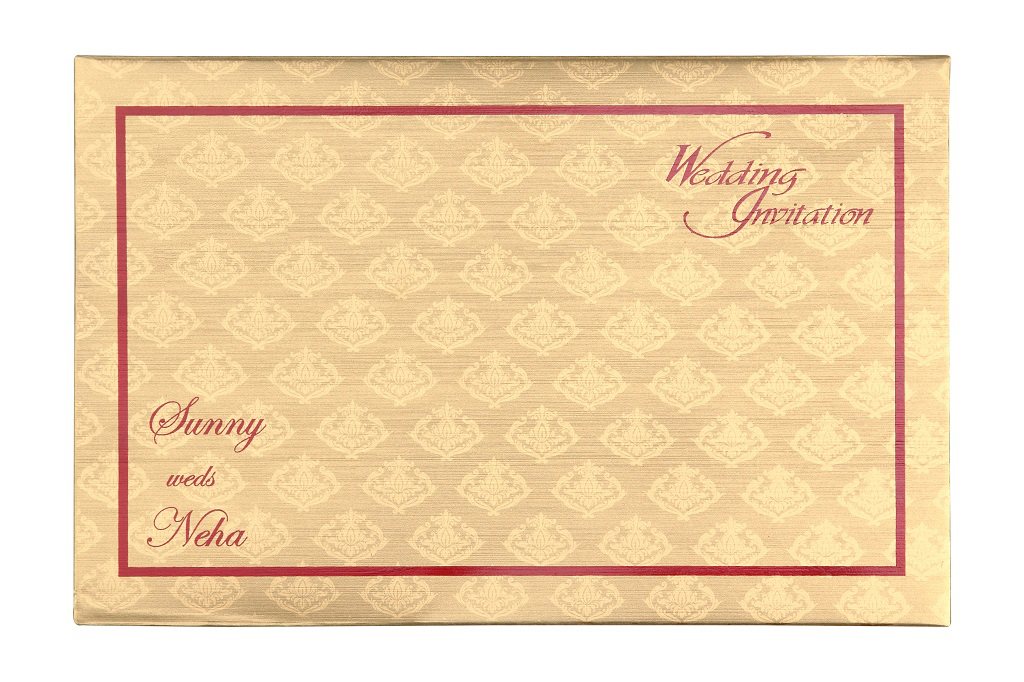 Golden Wedding Invitation Card In Royal Red Colour Wedding