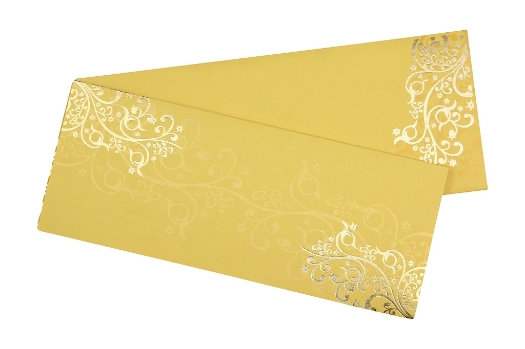 Golden Wedding Invitation in Vibrant yellow Colour