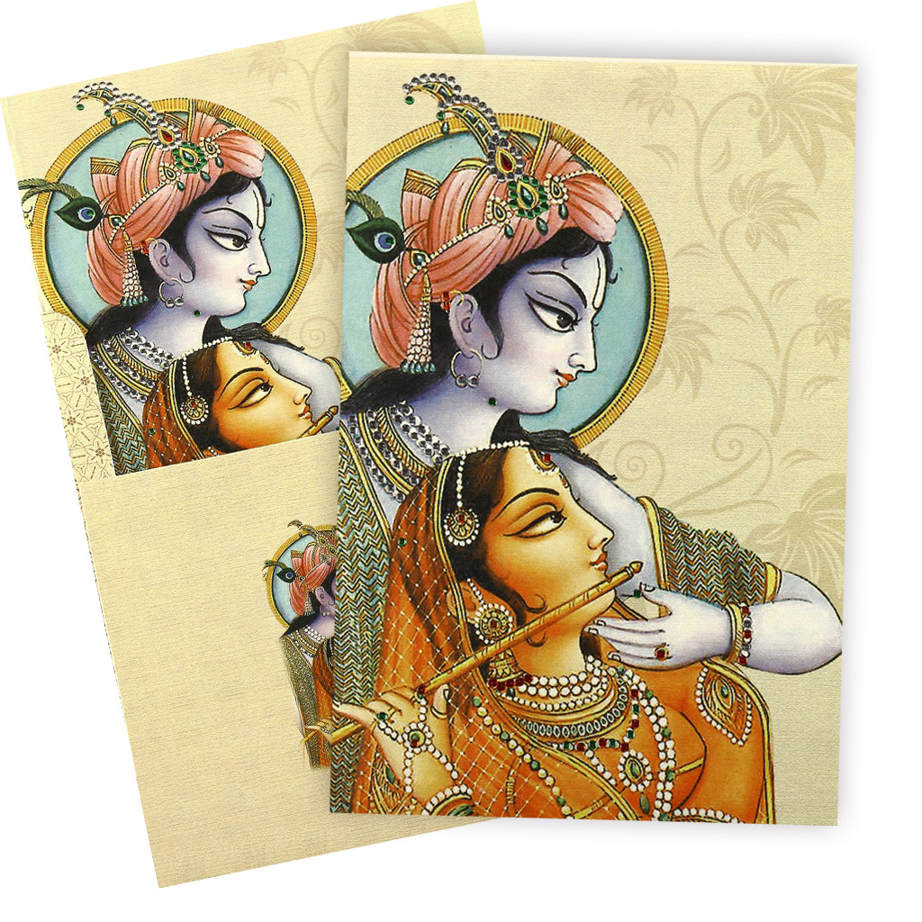 Traditional Radha Krishna Wedding Card – Indian Traditional Wedding Cards