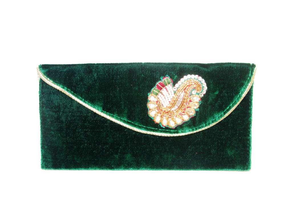 Green Velvet with broach hand Clutch