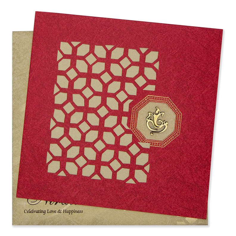 Greeting card style laser cut invite in red & golden - Click Image to Close