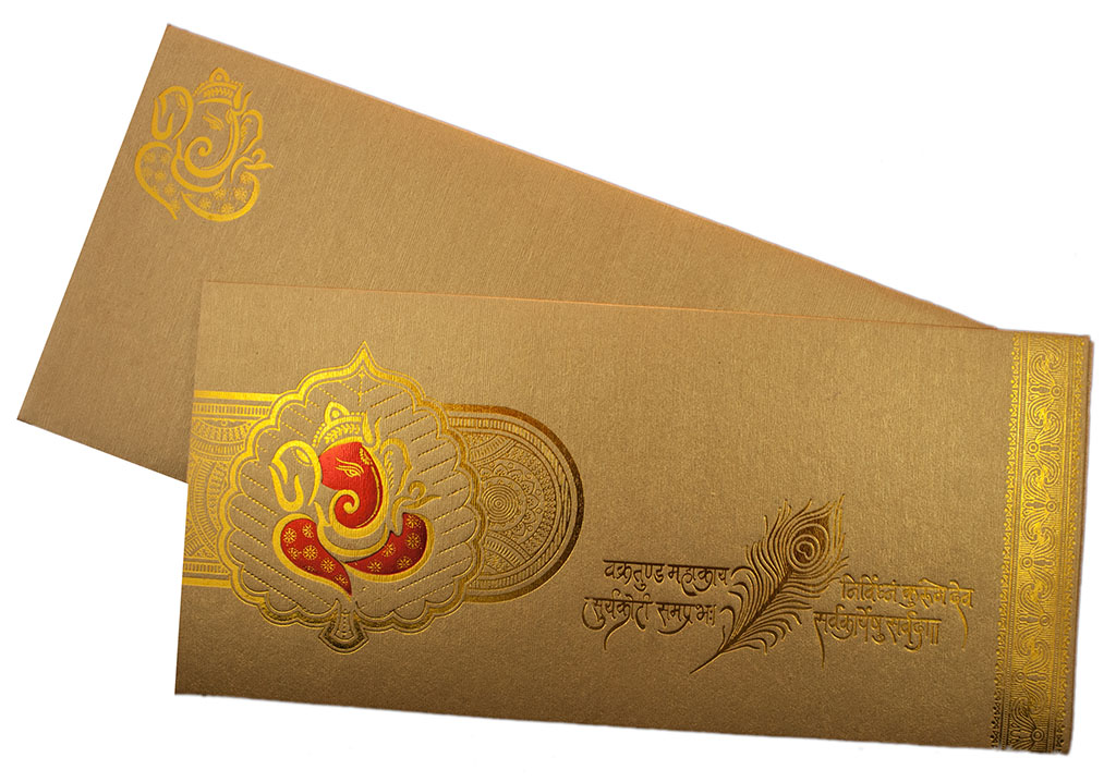 Marriage Card in Golden with Ganesha and Sanskrit Shloka