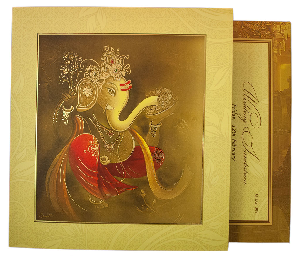 Marriage Card with Ganesha and Royal Wedding Images