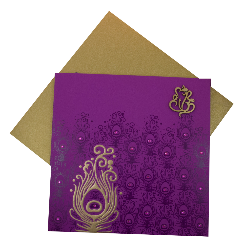 Hindu Marriage Invitation Card in Purple Peacock Feather Design