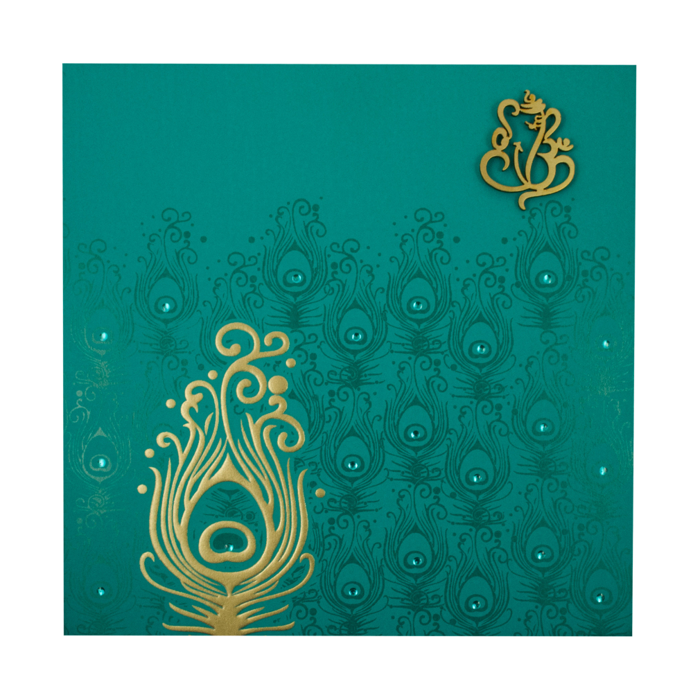 Hindu Marriage Invitation Card in Turquoise Blue Peacock Design – Marriage Invitation Card Designs Indian
