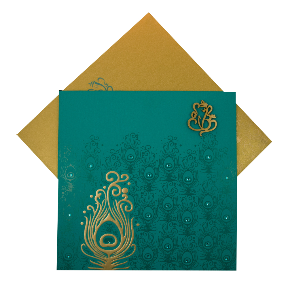 Marriage Invitation Card in Turquoise Blue Peacock Design