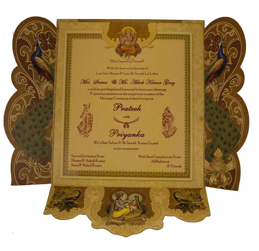 Hindu Wedding Card Decorated With Pea Images