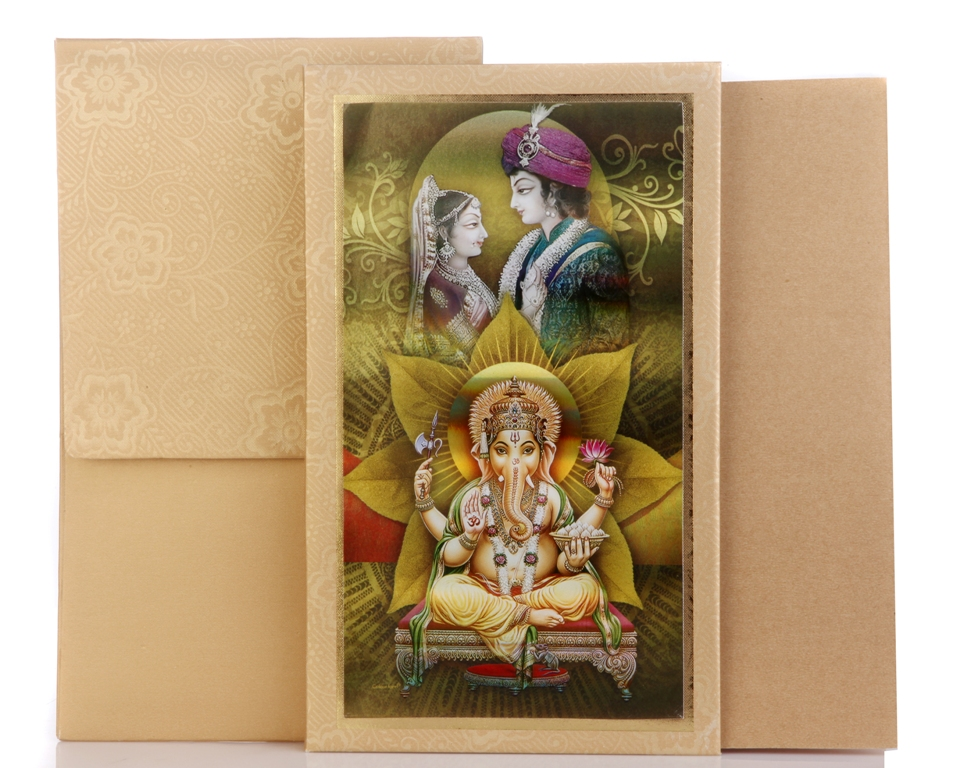 Hindu Wedding Cards Design In Antique Golden Brown Colour