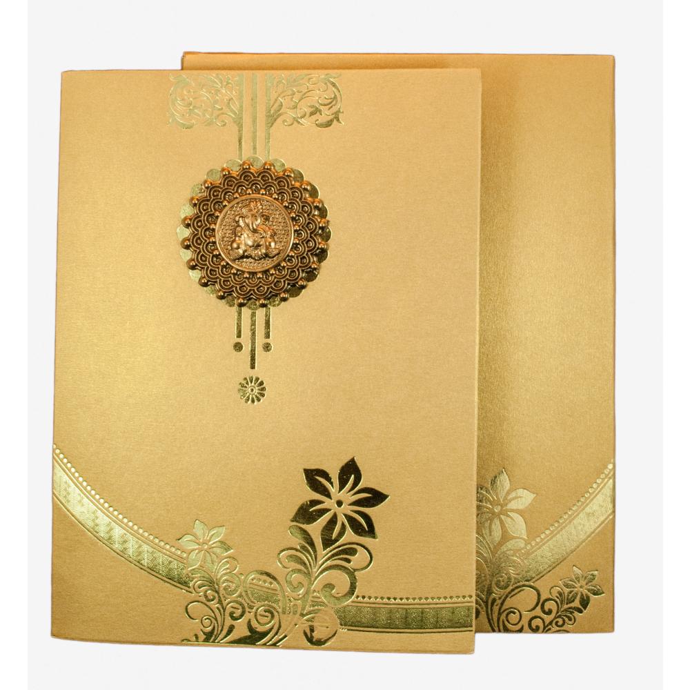 Hindu Wedding Card In Golden With Floral Design Ganesha