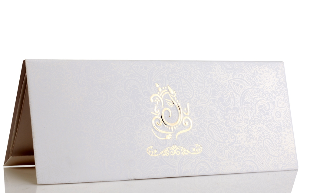 Hindu Wedding Card In Elegant White And Golden Colour