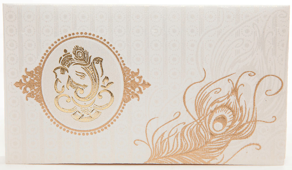 hindu wedding card in ivory with ganesha and peacock feather,