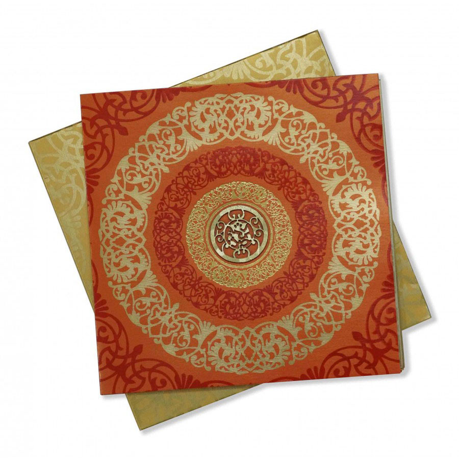 hindu wedding card in orange with floral design  ganesha