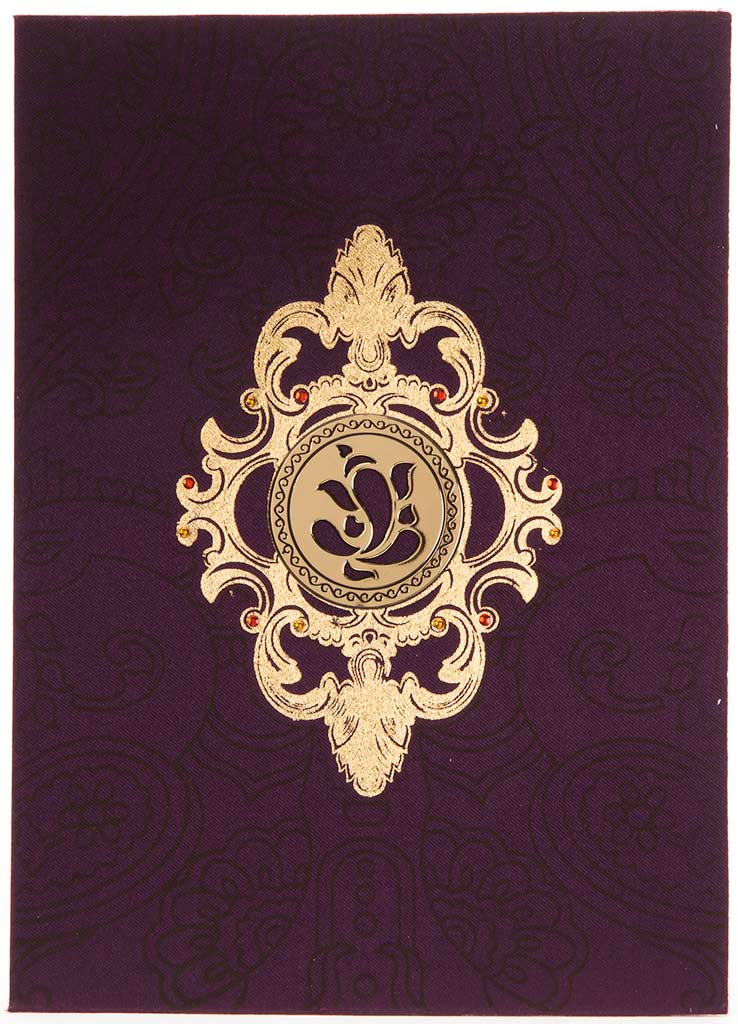 Hindu Wedding Card In Purple Satin With Laser Cutout Ganesha