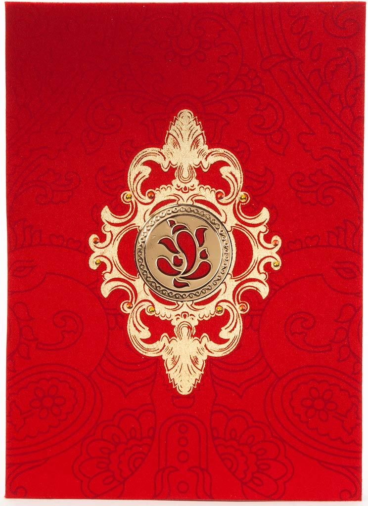 Hindu Wedding Card In Red Satin With Golden Laser Cutout Ganesh