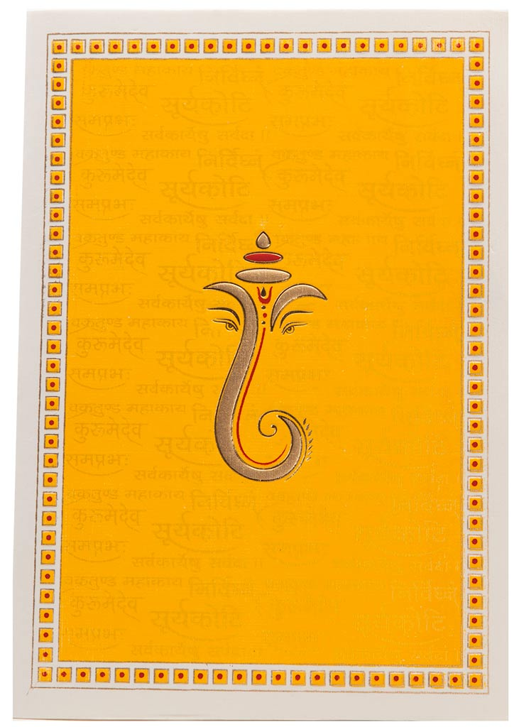 Hindu Wedding Card In Yellow With Ganesha & Sanskrit Shloka ...
