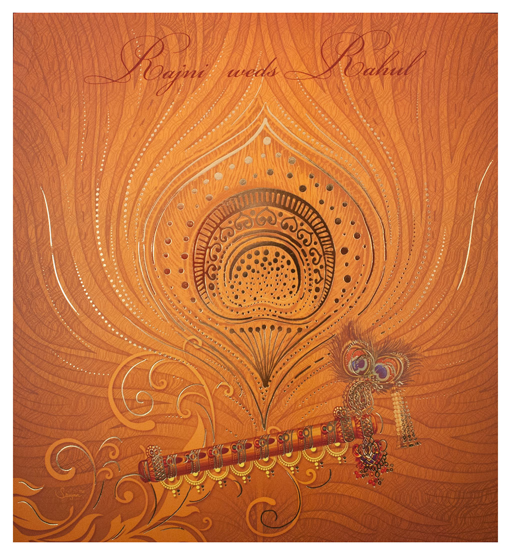 Hindu Wedding Card With A Peas And Decorated Flute