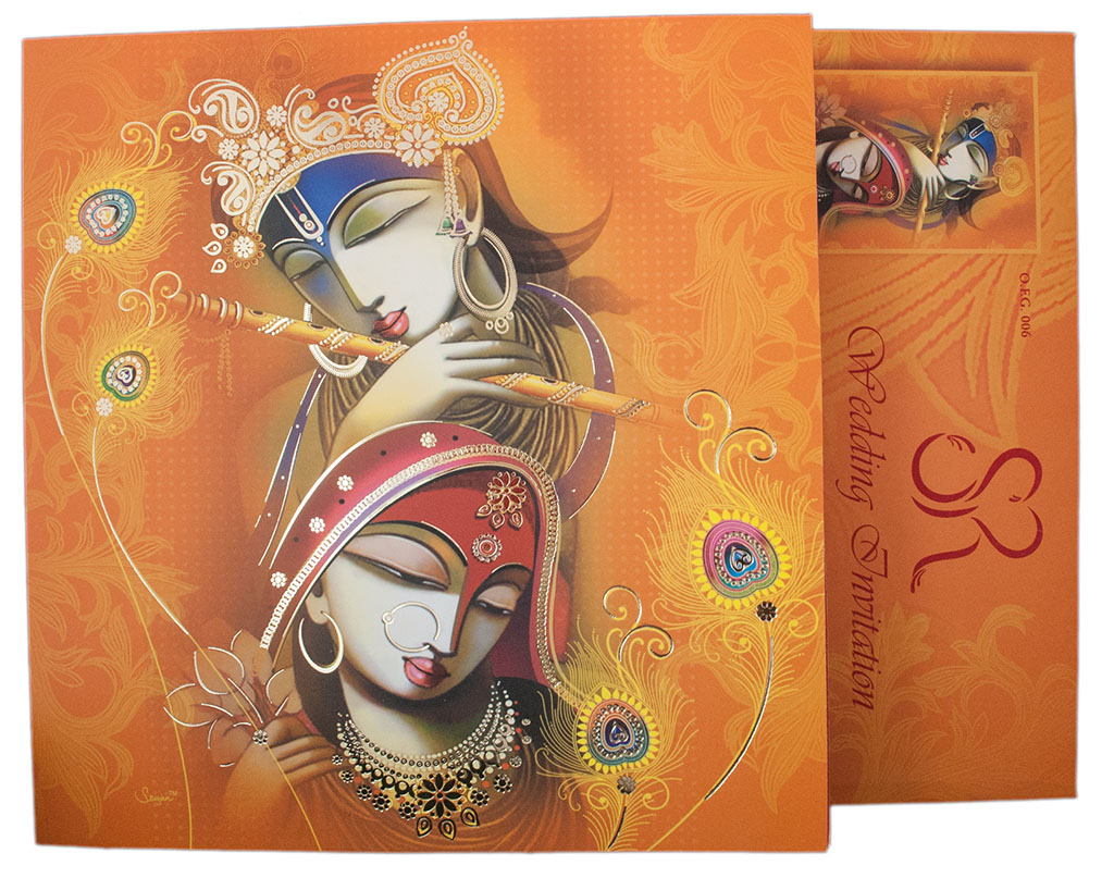 Hindu Wedding Card with Modern Radha Krishna Design in Orange