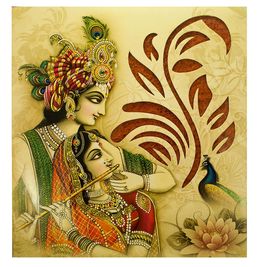 Hindu Wedding Card with Radha Krishna Images