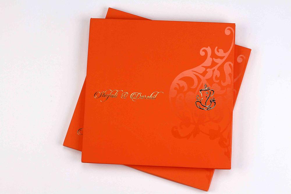 wedding invitation card in bright orange colour