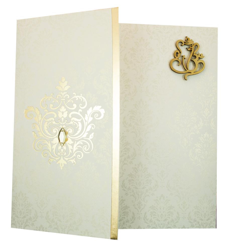 Hindu Wedding Invitation Card in Ivory Ganesha Symbol