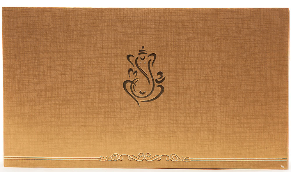 hindu wedding invitation in golden beige with ganesha With hindu wedding invitations with ganesh