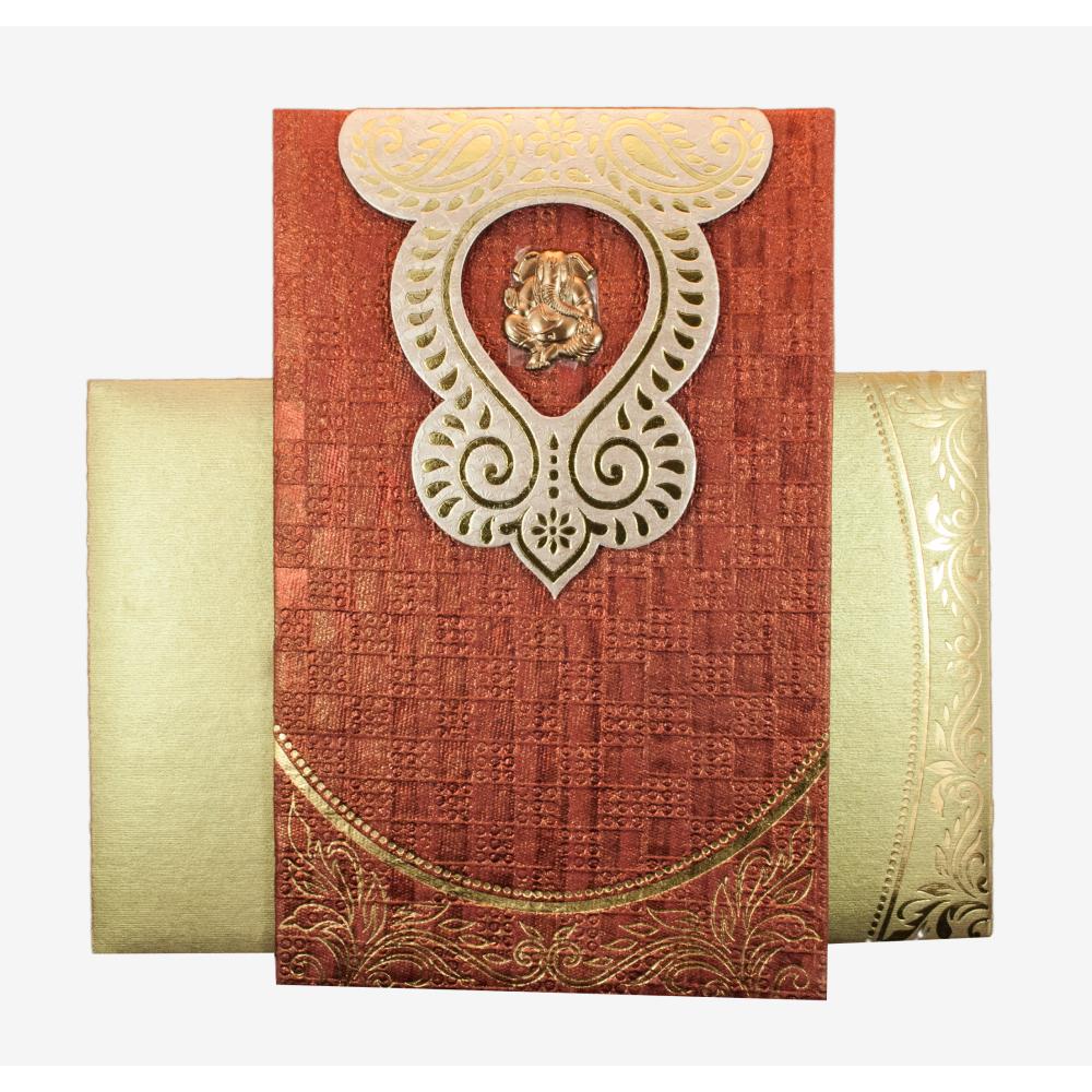 Hindu Wedding Invitation in Handmade paper with Ganesha Symbol