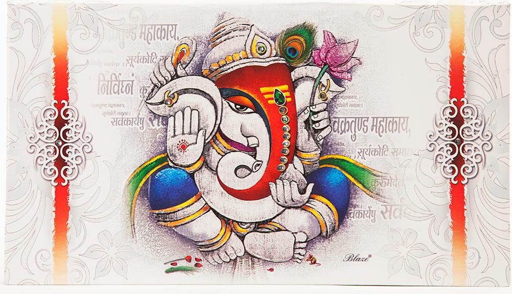 Hindu Wedding Invitation In Multi Color Stone Studded Ganesha