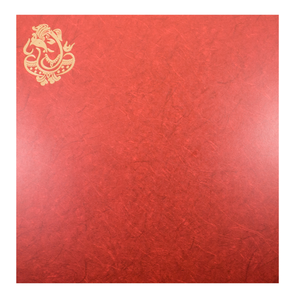 Hindu Wedding Invite In Cream And Textured Red Paper With Golden Ganesha