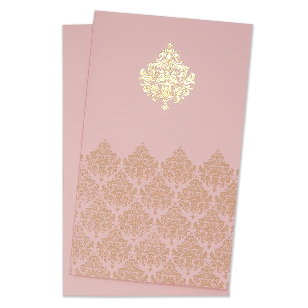 muslim wedding cards indian wedding card in baby pink with floral motifs - Muslim Wedding Invitations