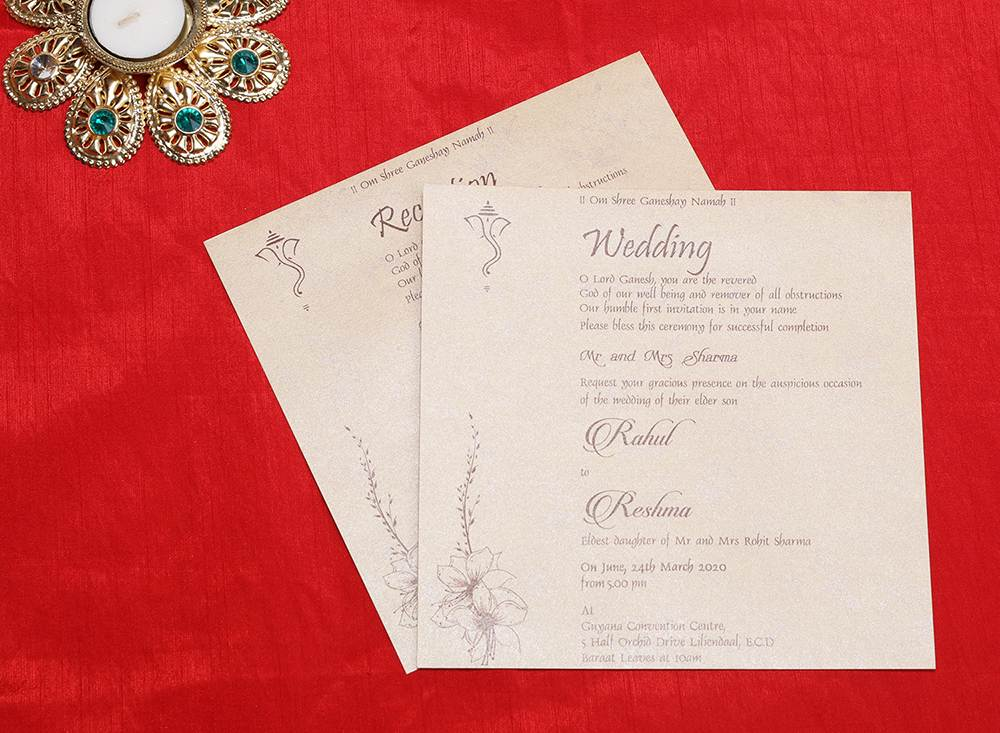 Indian wedding card in beige with embossed floral designs - Click Image to Close