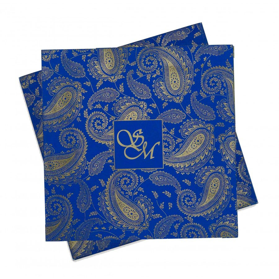 Wedding Card in Blue with Traditional Paisley Designs