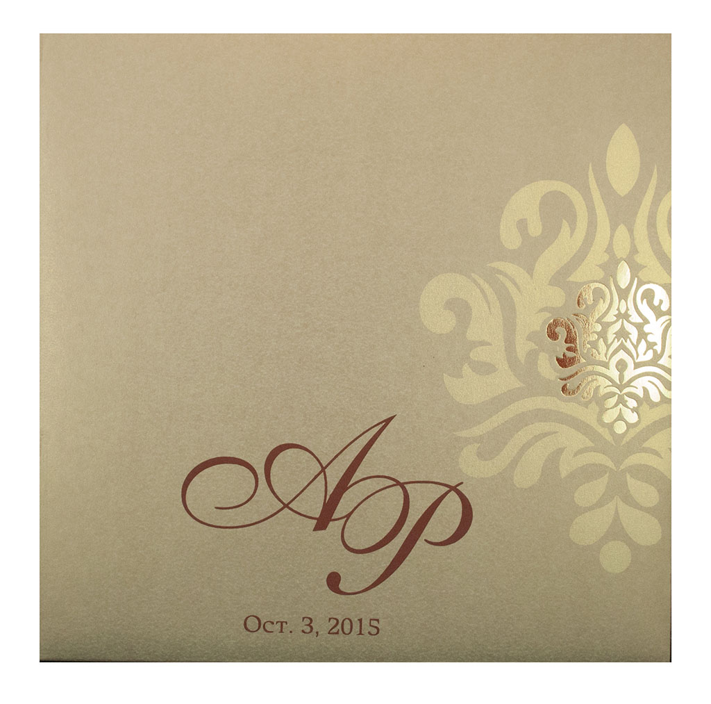 Wedding Card in Brown with Traditional Golden Prints