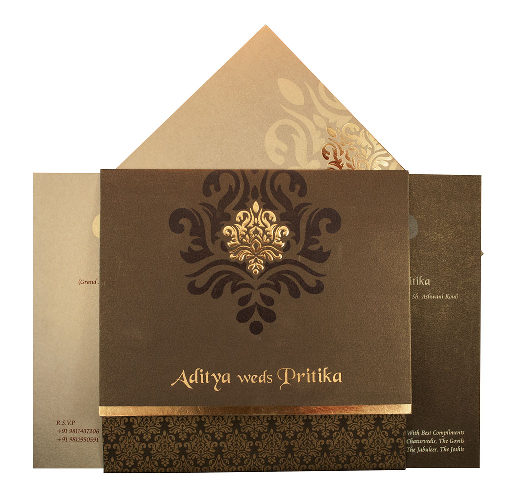 Indian Wedding Card In Brown With Traditional Golden Prints