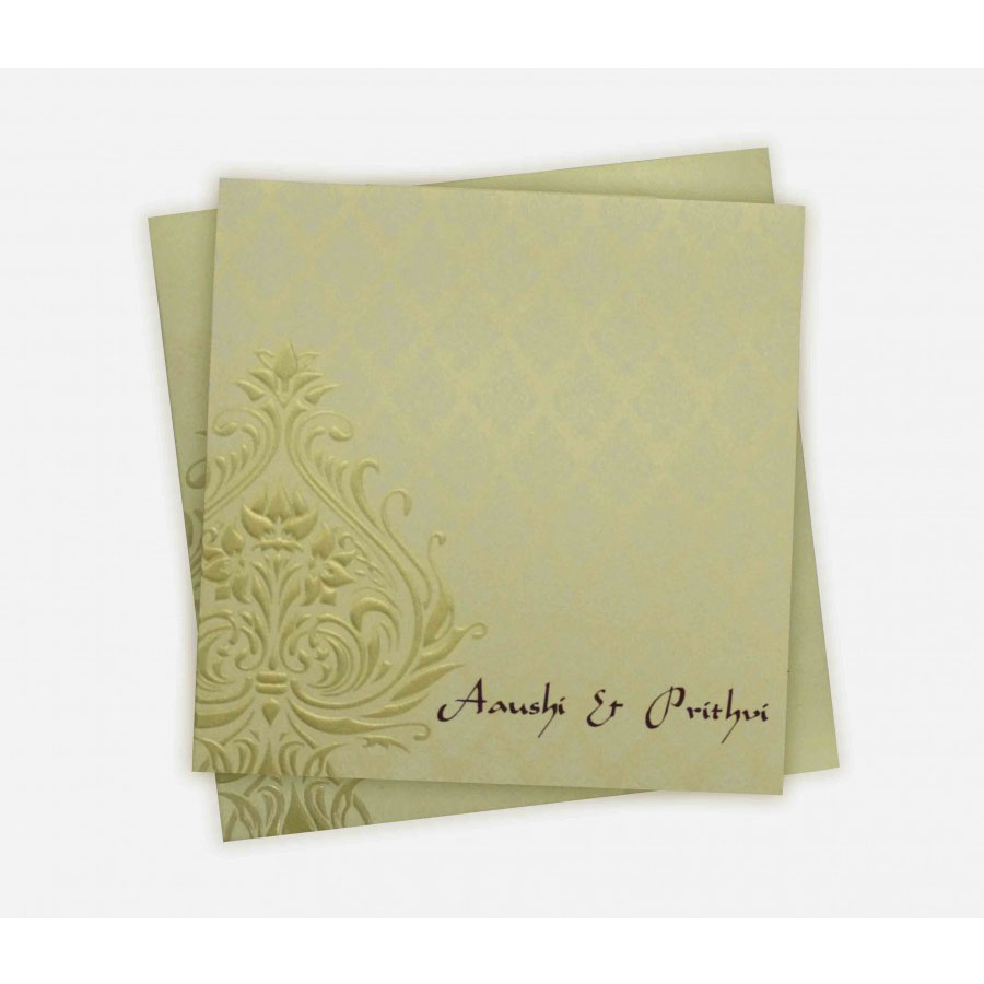 Indian Wedding Card In Cream With Embossed Motif Golden