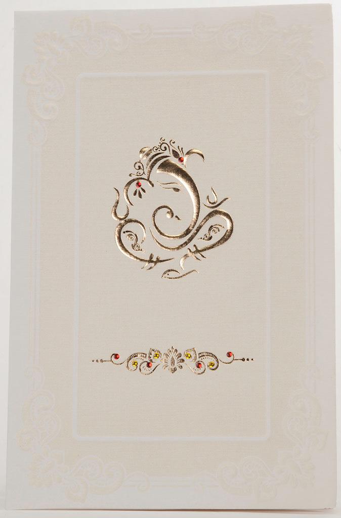 Indian Wedding Card In Cream With Golden Ganesha Design | Wedding ...