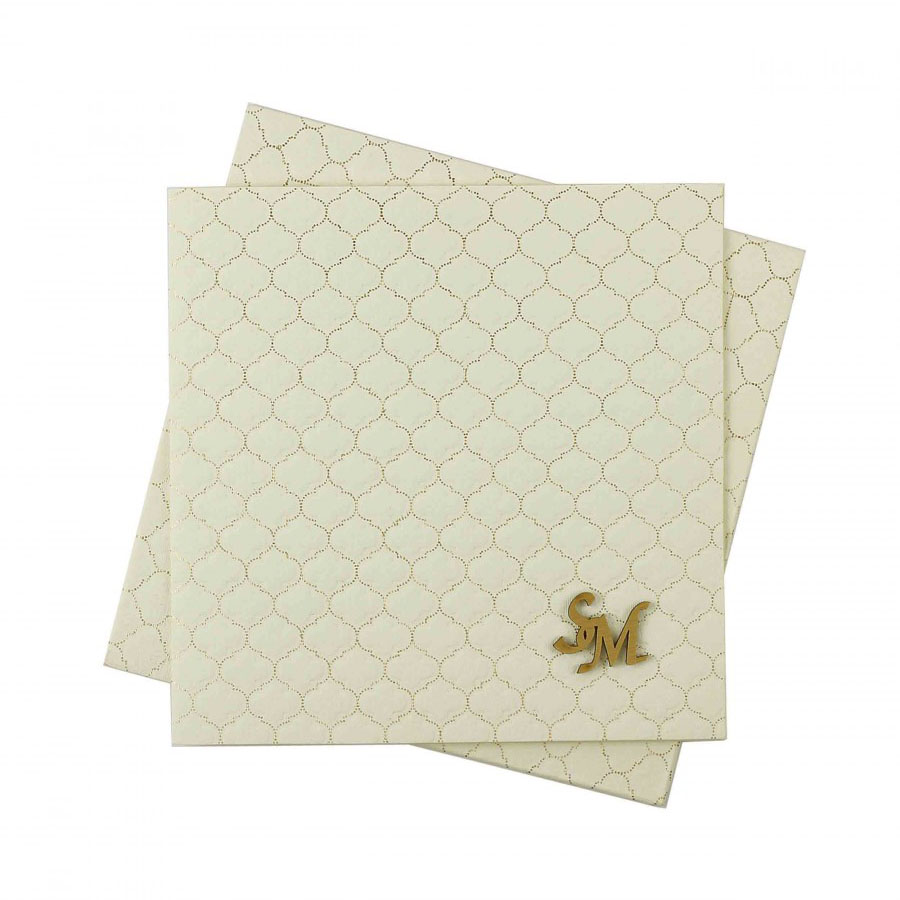 Indian Wedding Card In Cream With Motifs Self Golden Color