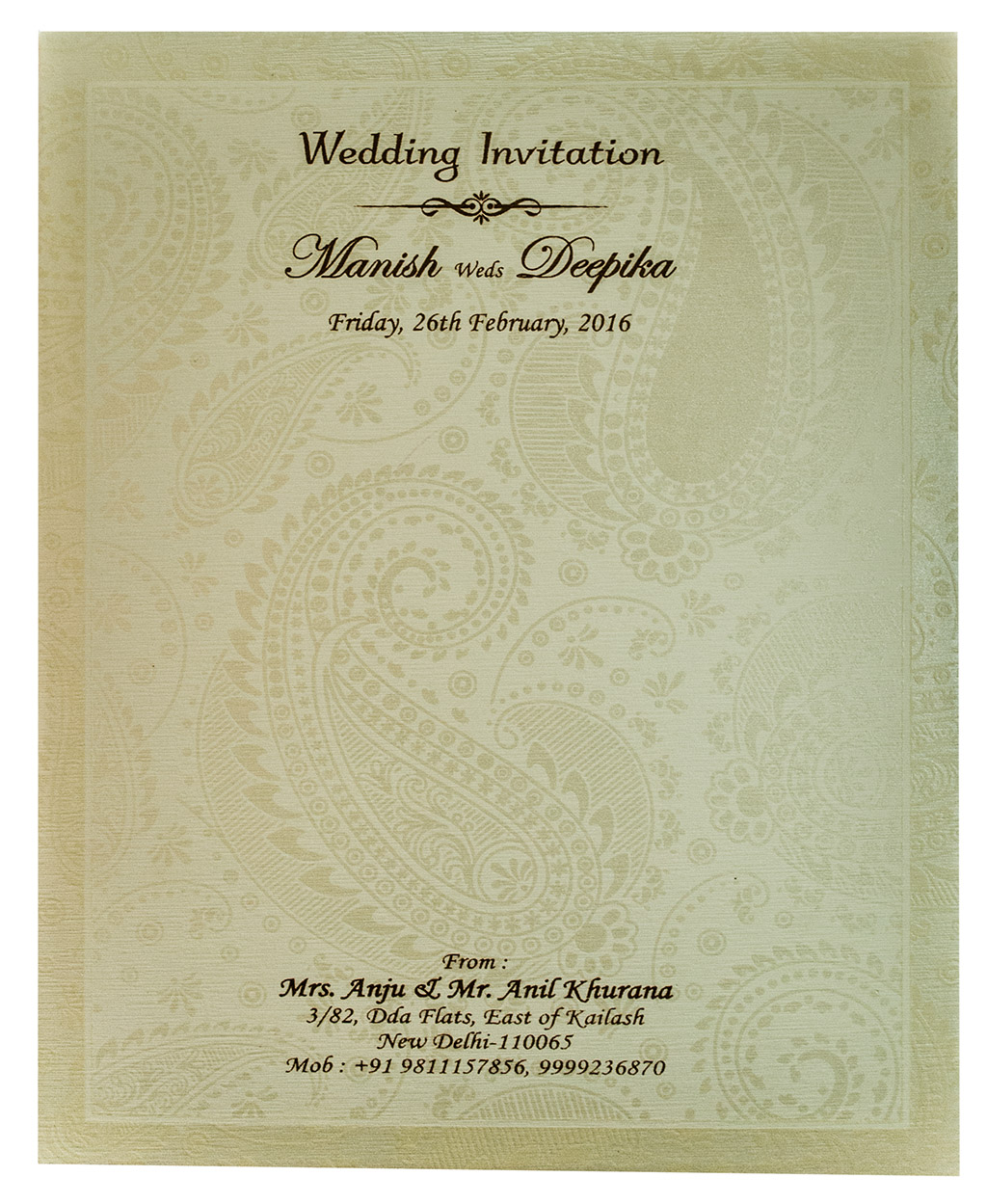 Indian wedding card in Cream with Paisley design in self