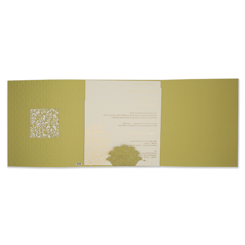 Indian wedding card in green embossed motifs and laser cut design - Click Image to Close