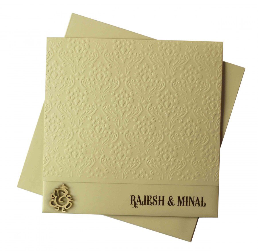 Indian Wedding Card In Olive Green With Laser Cut Ganesha