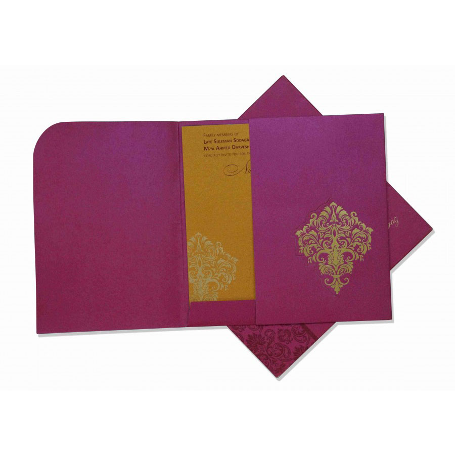 Sample Indian Wedding Card In Pink With Gate Fold Golden Motifs