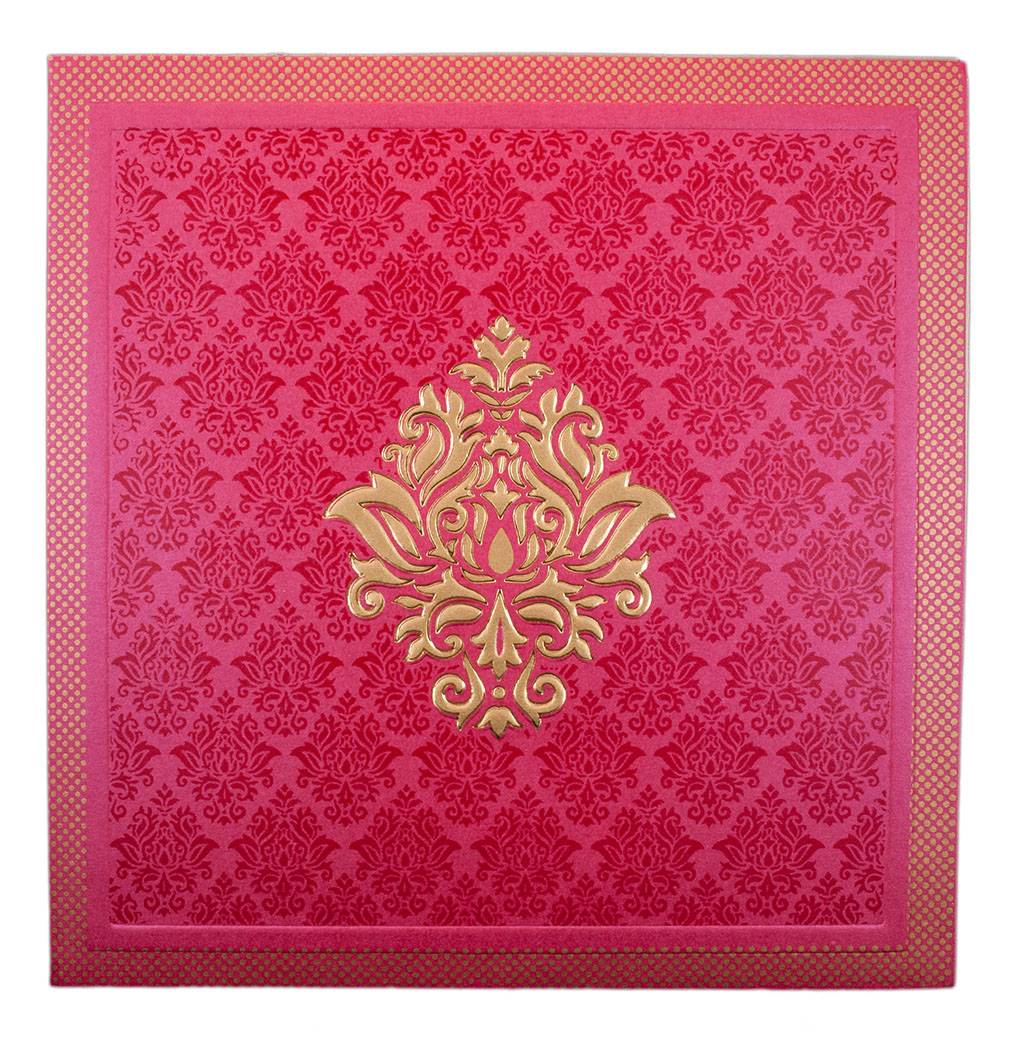 Indian Wedding Card In Square Pink With Golden Motifs