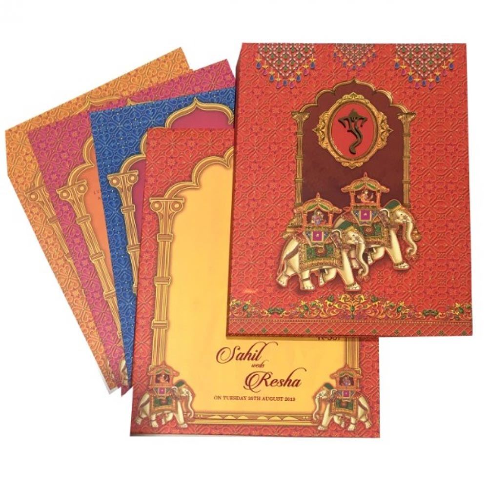 Indian wedding card in vibrant colours and royal elephants