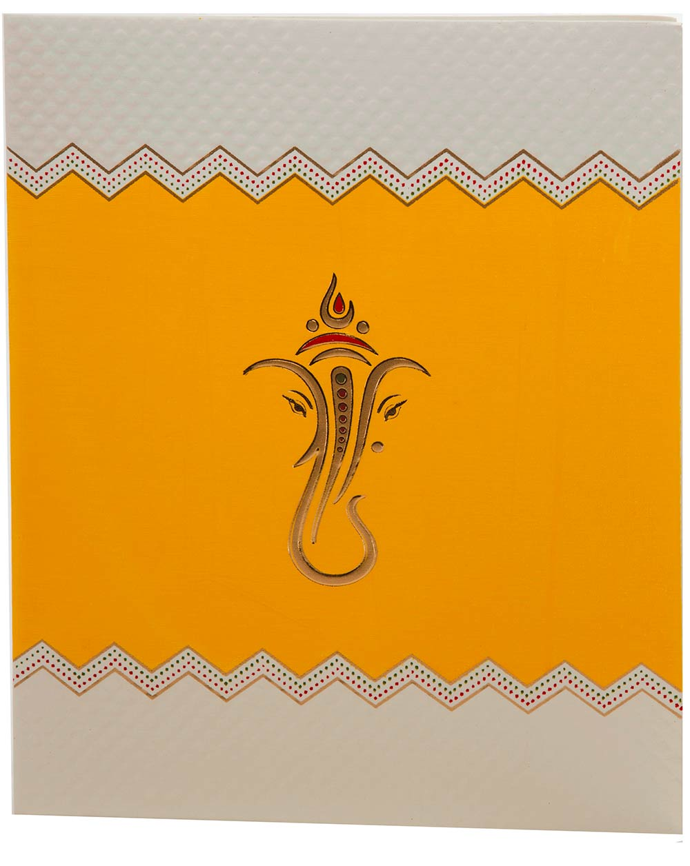 indian wedding card in yellow with embossed ganesha