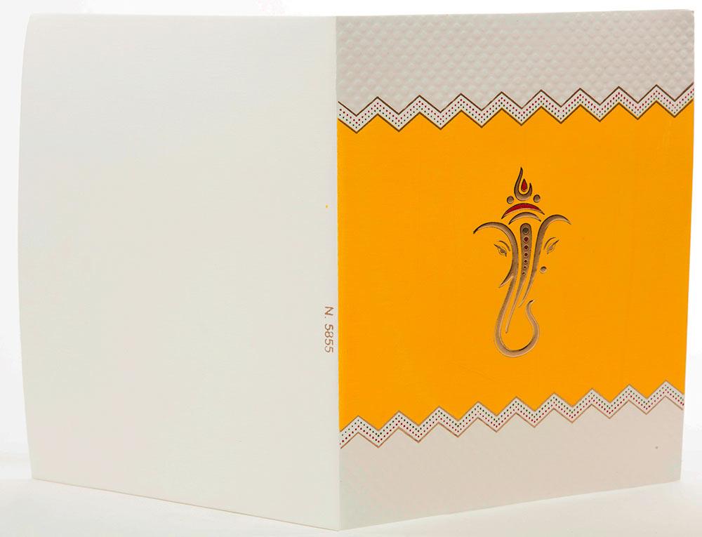 Indian Wedding Card In Yellow With Embossed Ganesha   Wedding ...