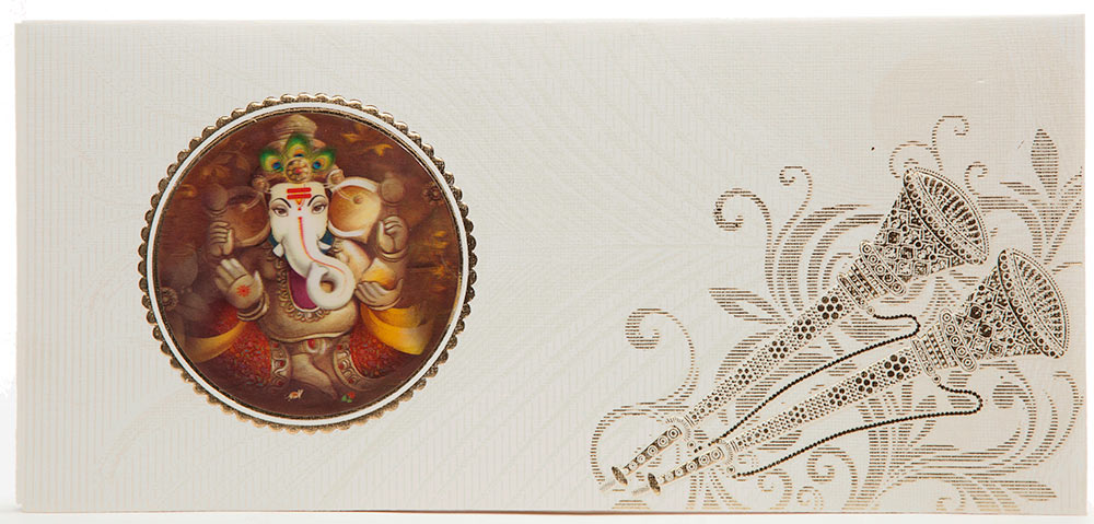 Indian Wedding Card With 3D Ganesha Shehnai Morpankh Design