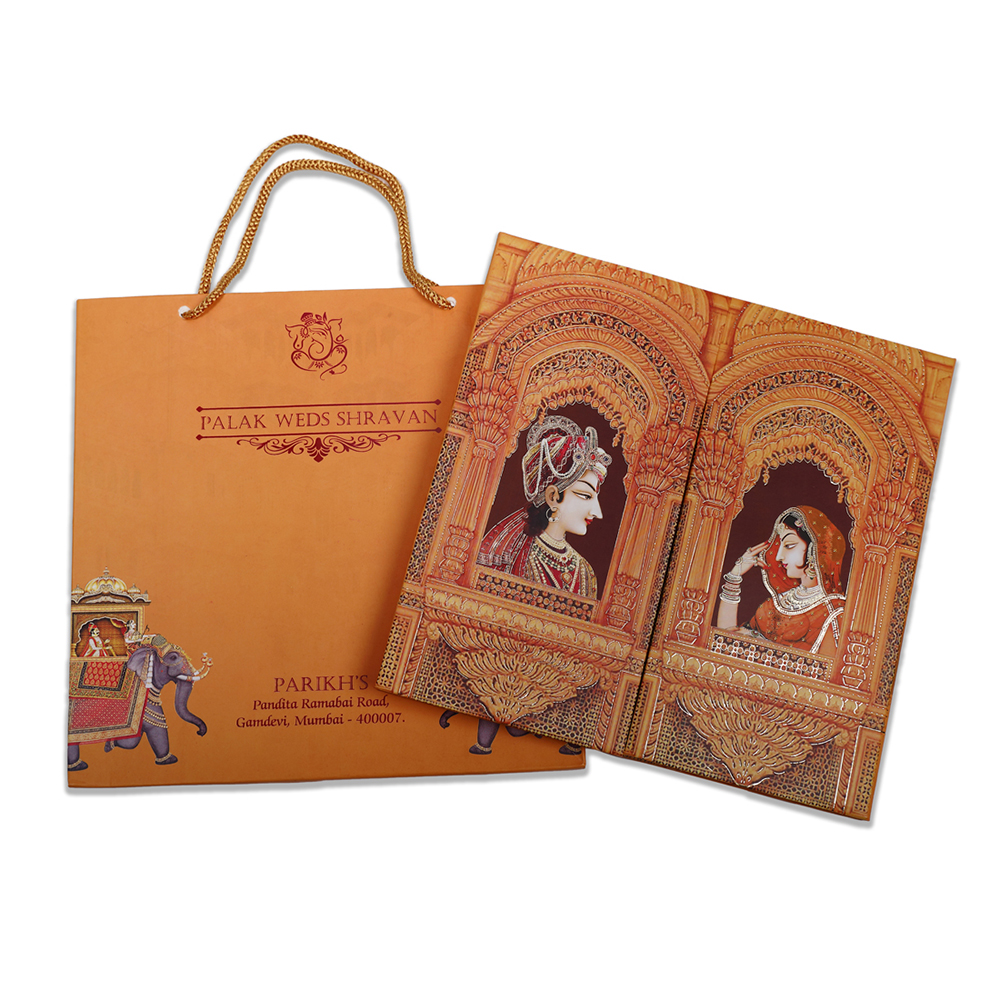 Indian wedding card with Ganesha, royal couple and wedding rituals.